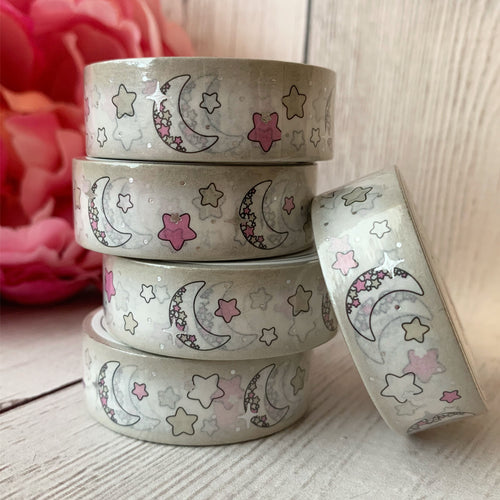 Washi - Moons with Silver Foil