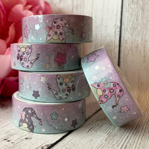 Washi - Blue/Purple Gnomes with Silver Foil