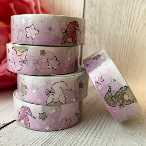 Washi - Pink/White Gnomes with Silver Foil