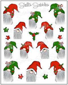 Scribbles - Christmas Peeking Gnomes
