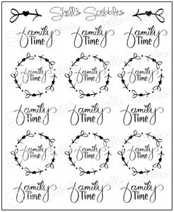 Scribbles - Family Time - Hand Lettered