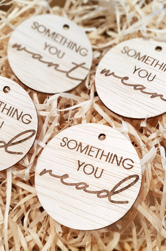 Want, Need, Wear, Read - Circle Gifting Tags