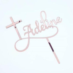 Name & Cross Cake Topper