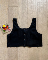 Black Button Crop Top