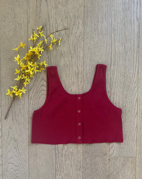 Wine Button Crop Top