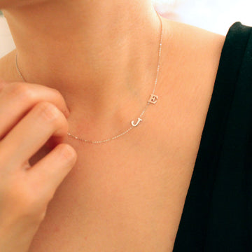 Initial Letter Simple small necklace 14k real gold