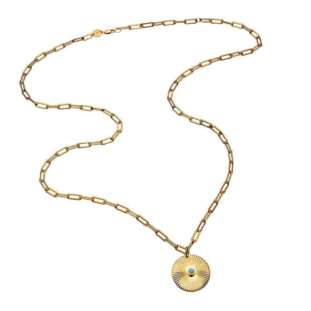 Jennifer Zeuner Jewelry Iris Turquoise Necklace Gold Vermeil