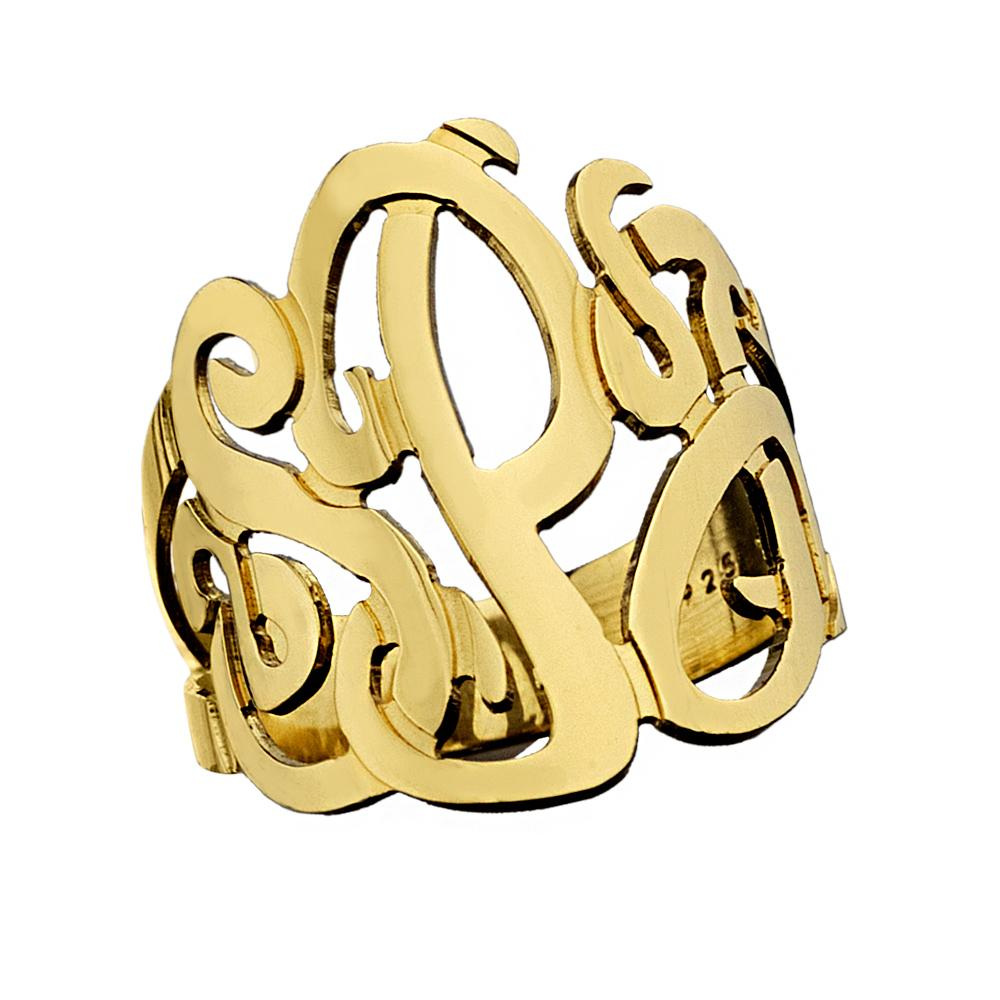 Jennifer Zeuner Jewelry Jessie 3 Initial Monogram Ring gold vermeil / 4