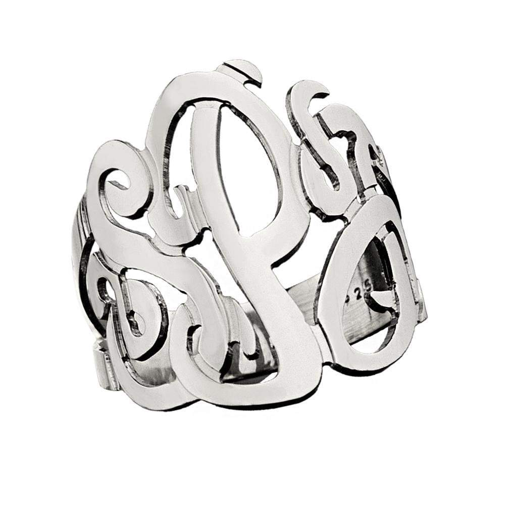 Jennifer Zeuner Jewelry Jessie 3 Initial Monogram Ring sterling silver / 4