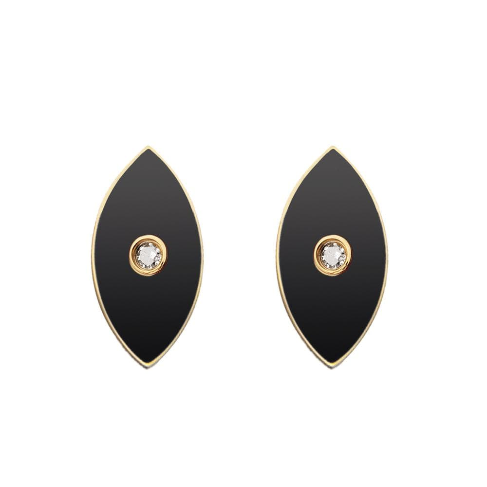 Jennifer Zeuner Jewelry Nazar Enamel Stud Earrings black enamel / 14k yellow gold plated silver