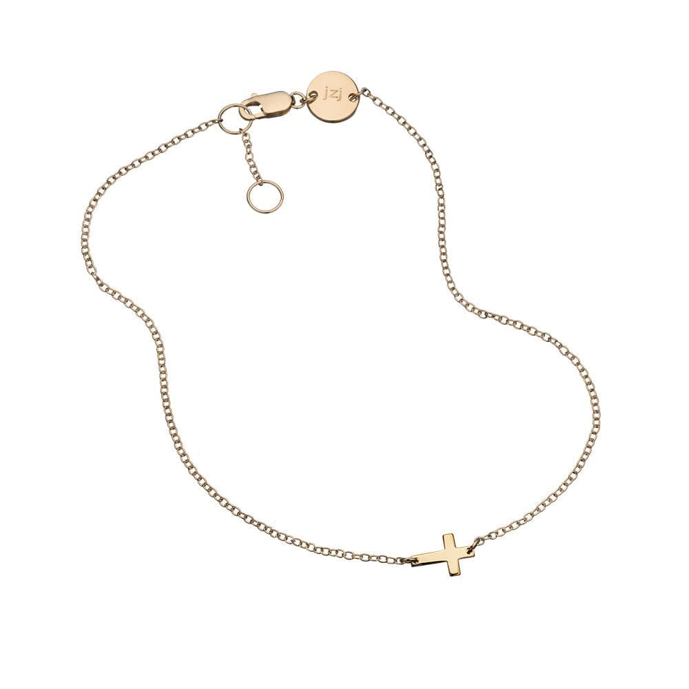 Jennifer Zeuner Jewelry Theta Cross Anklet gold vermeil