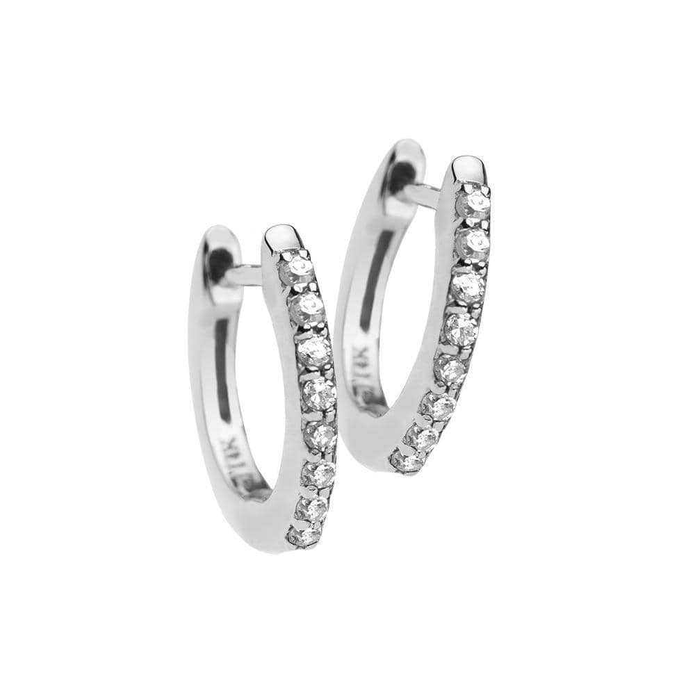 Jennifer Zeuner Jewelry Tia Mini 14k Huggies 14k white gold