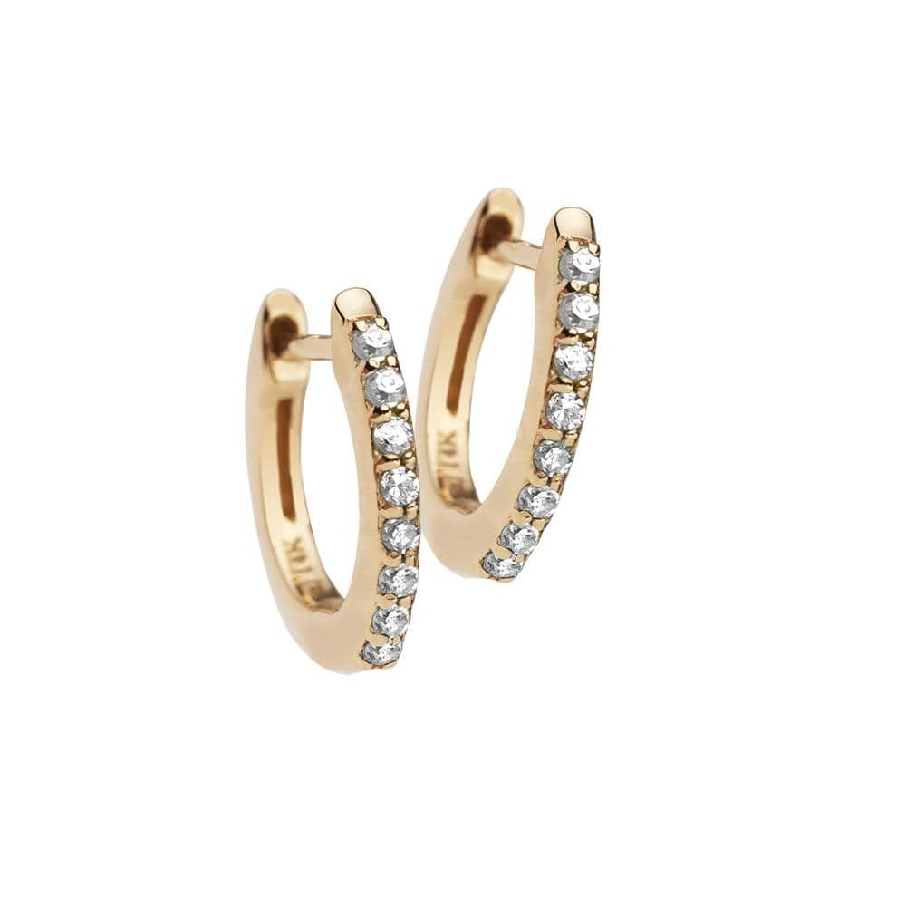 Jennifer Zeuner Jewelry Tia Mini 14k Huggies 14k yellow gold