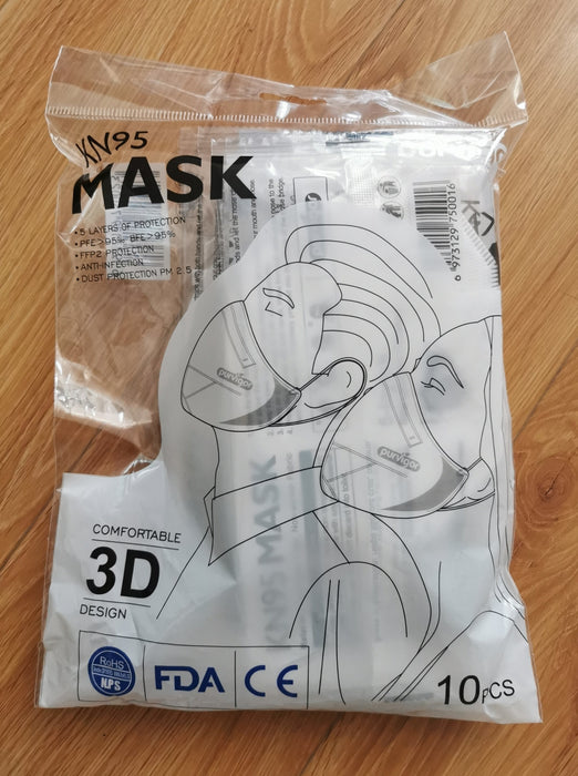 KN95 Respirator Face Mask, Antibacterial 5 Ply - CASE of 1000 Masks