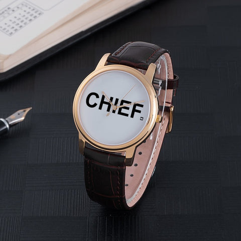 CHIEF Quartz Watch - BLK Genuine Leather  - CHIEF Merch