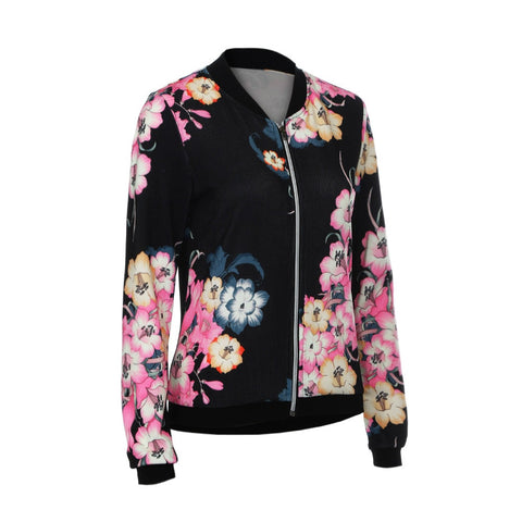 New 2017 Women's Ladies Biker Celeb Camo Flower FLoral Print Zipper Up Bomber Jacket Autumn And Winter Plus Size - CHIEF Merch