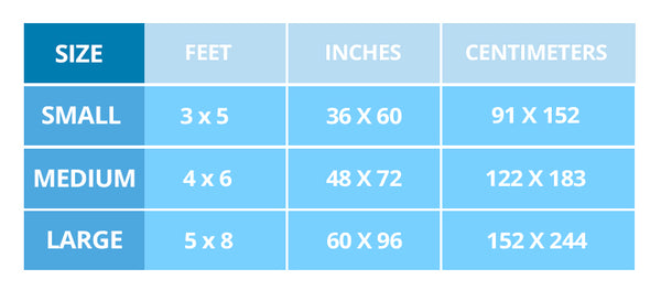 measurements for bandana are rugs
