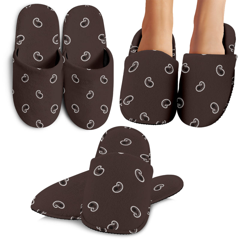 Coffee Brown Paisley Slippers