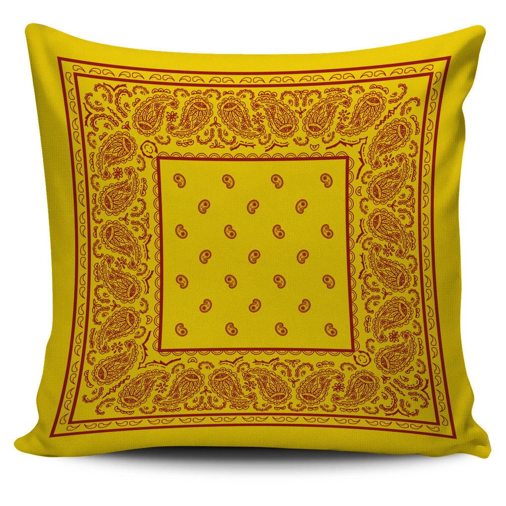 Gold and Red Bandana Throw Pillow Covers