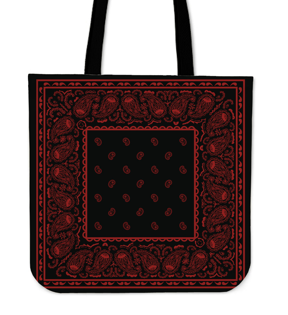 black and red bandana tote bad