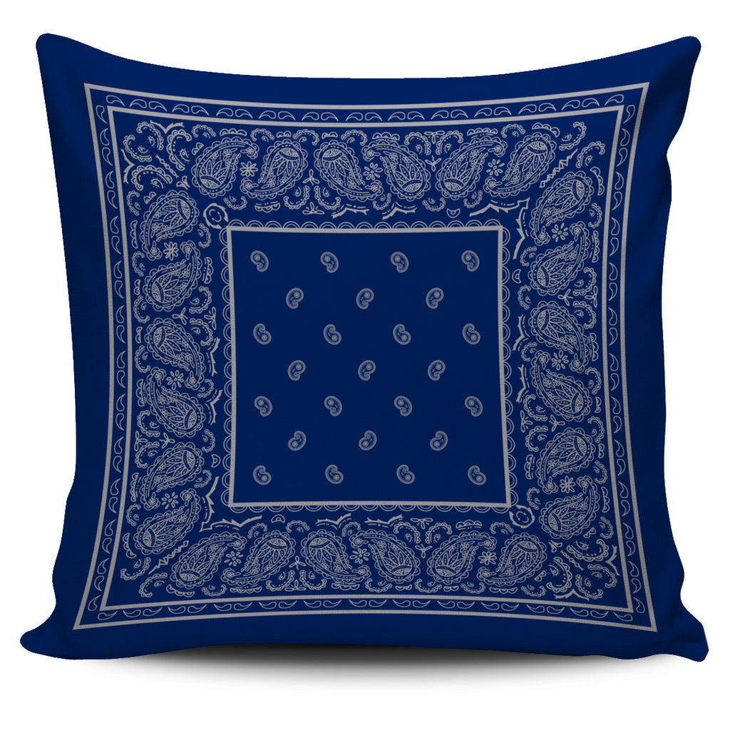 Blue and Gray Bandana Throw Pillow Cover