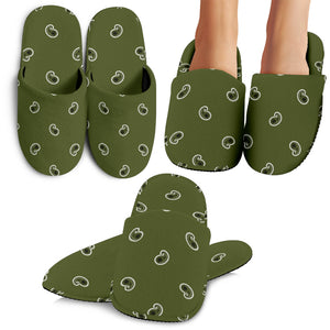 Army Green Paisley Slippers