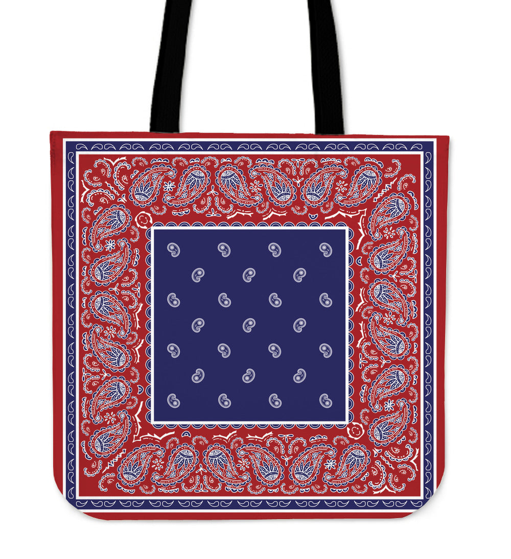 red white and blue bandana tote bag