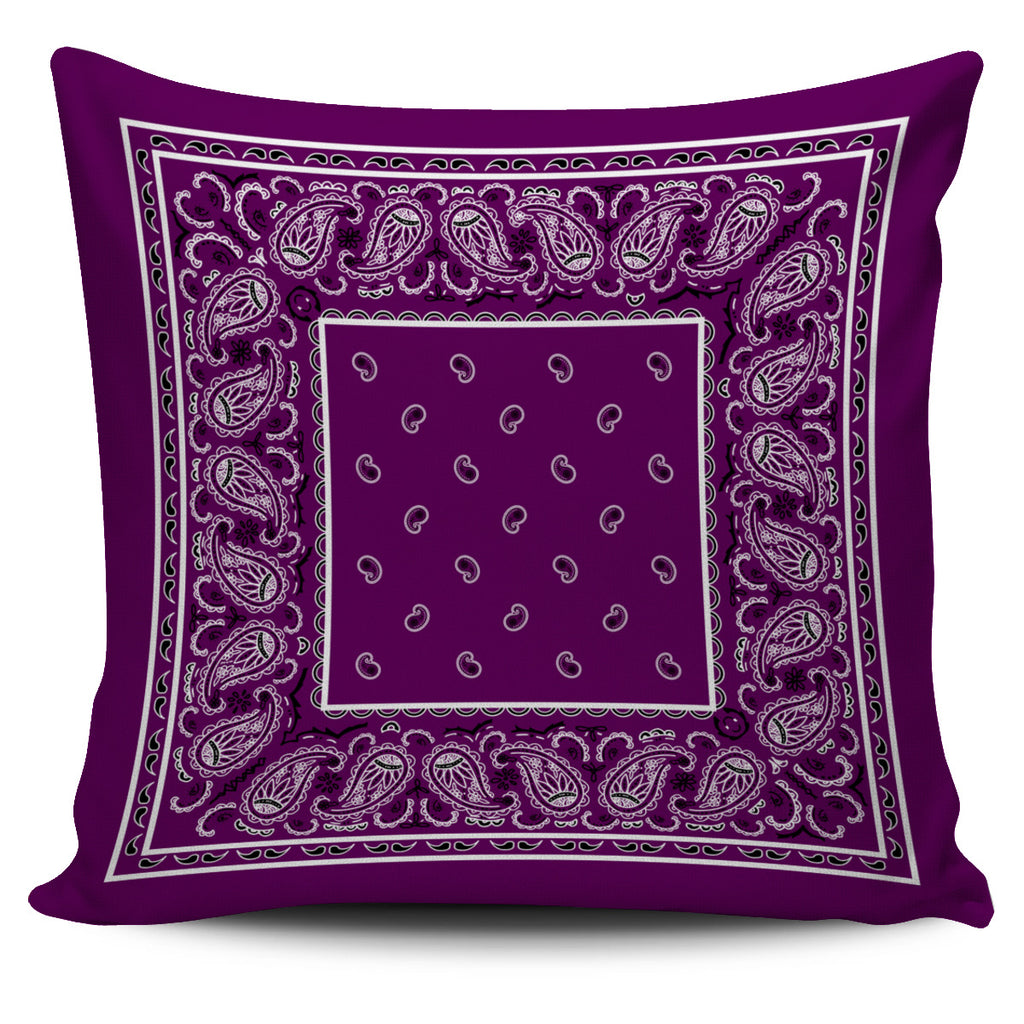 purple bandana throw pillow covers