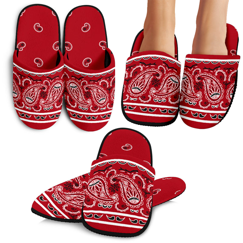 Classic Red Bandana Slippers