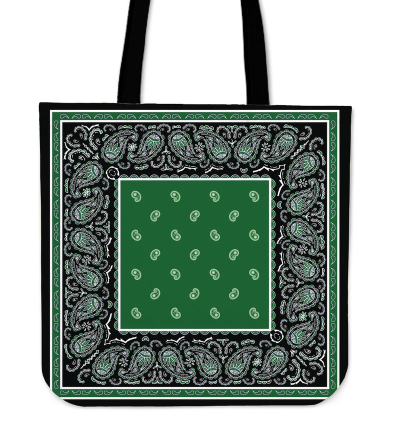 black and green tote bag