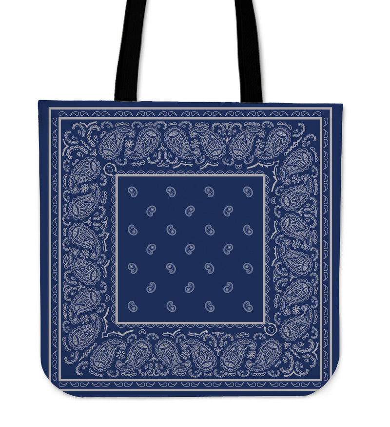 Blue and Gray Bandana tote Baga
