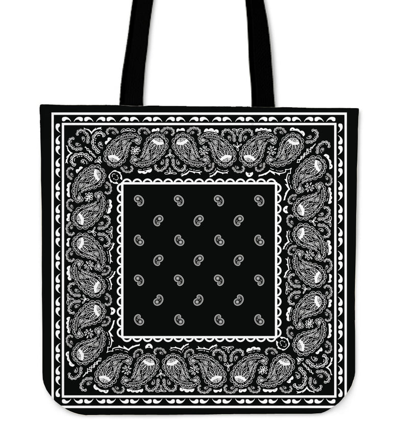 black bandana tote bag