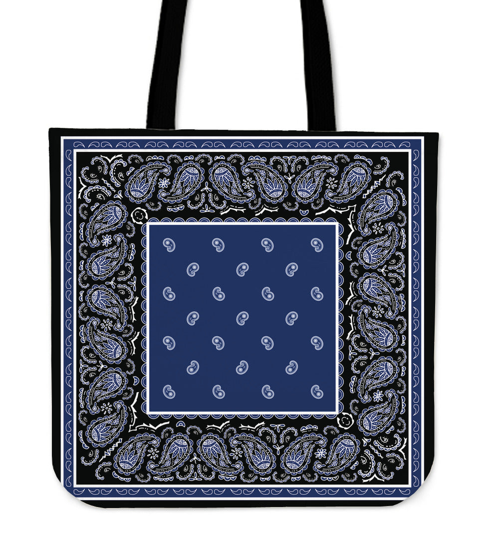 black with blue bandana tote bag