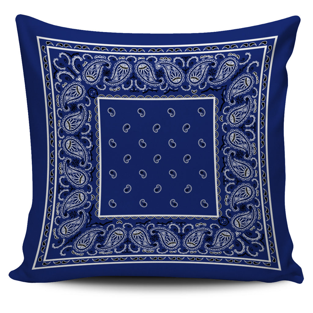 blue bandana pillow