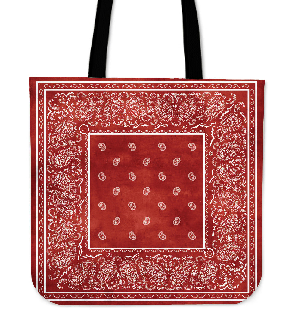 red and white bandana tote bag