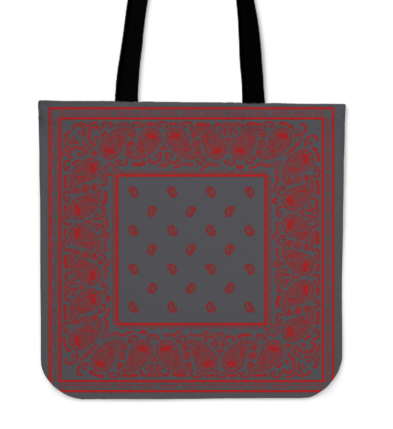 gray and red bandana bag