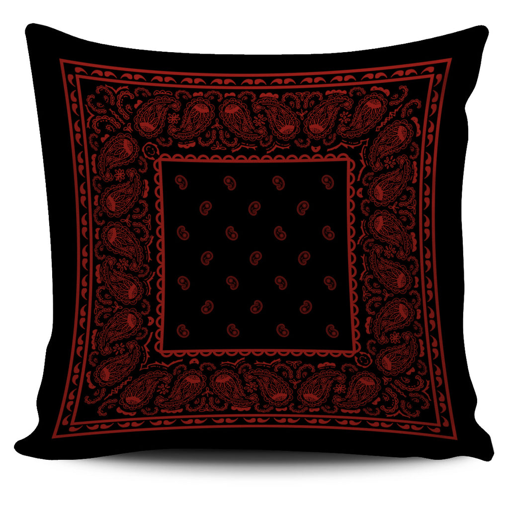 black and red bandana throw pillow cover