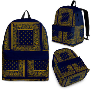 navy blue and yellow backpack