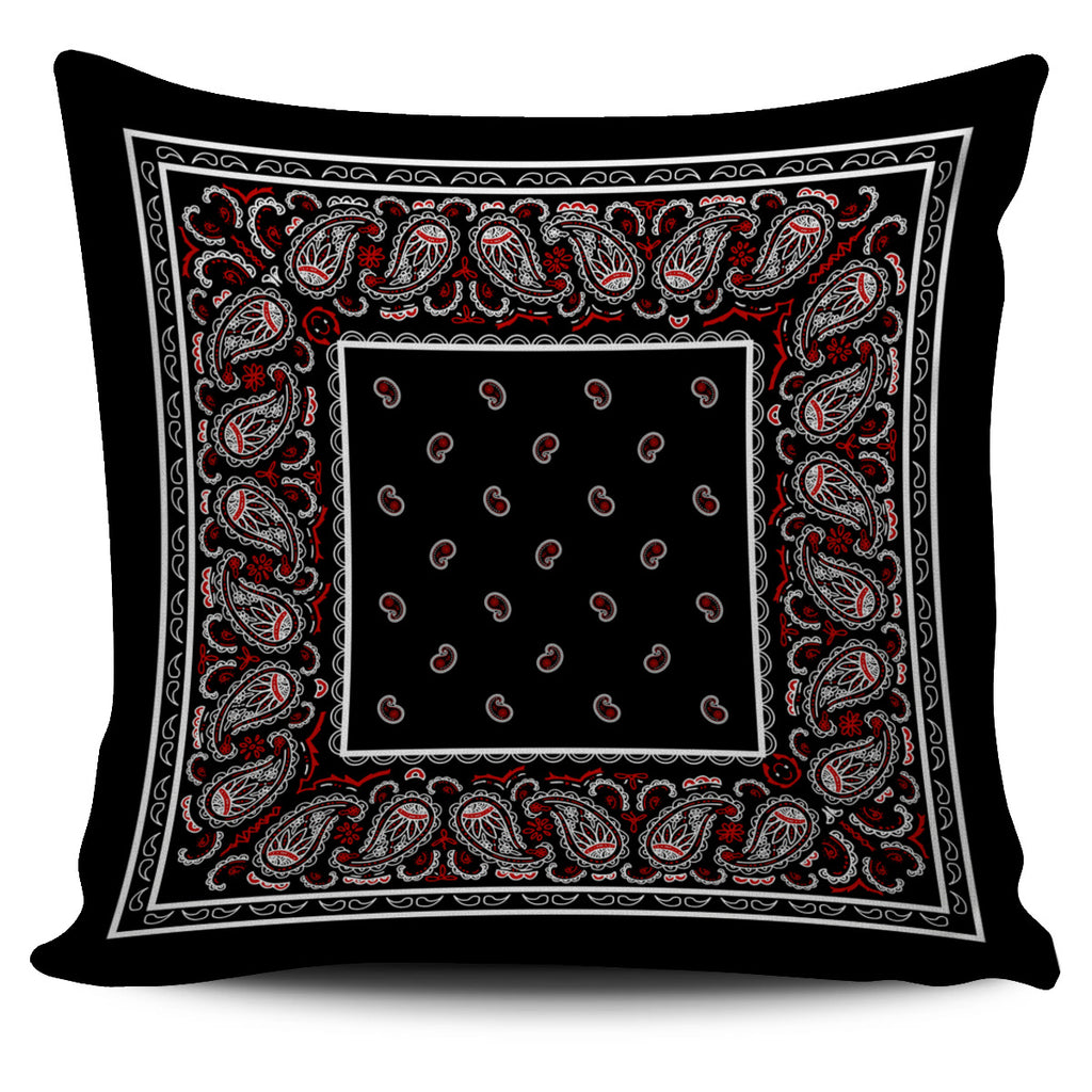 black and red bandana pillow