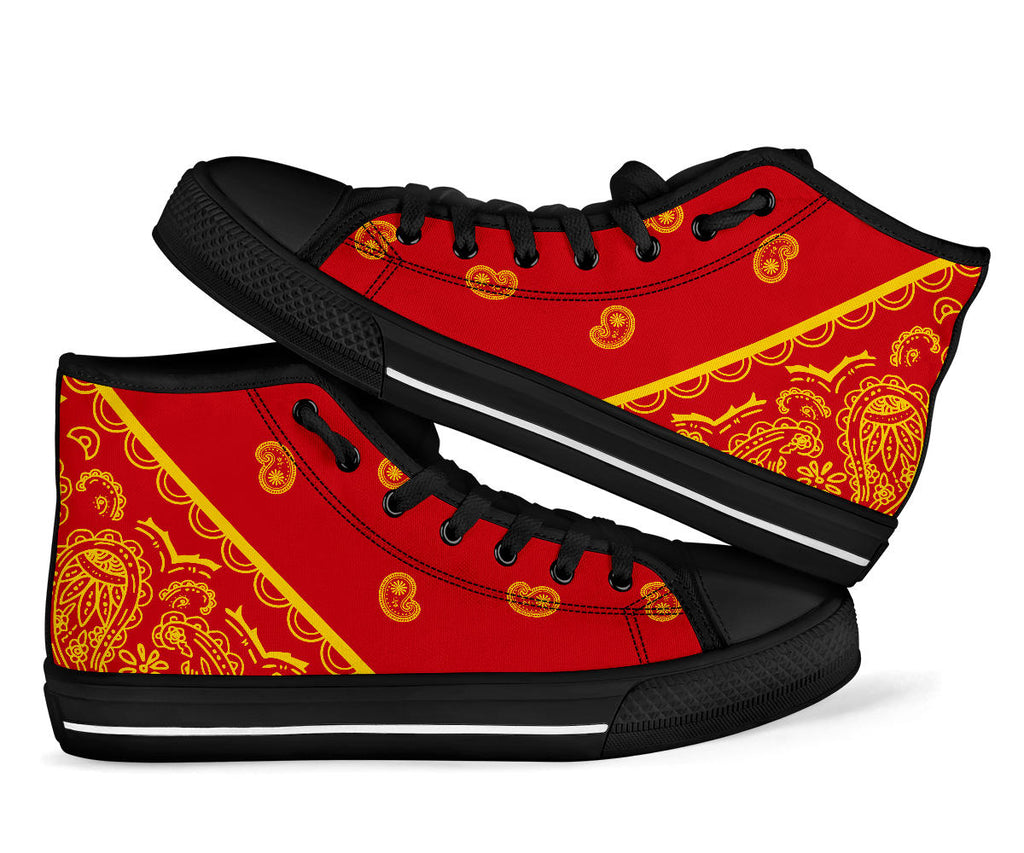 red and gold sneakers