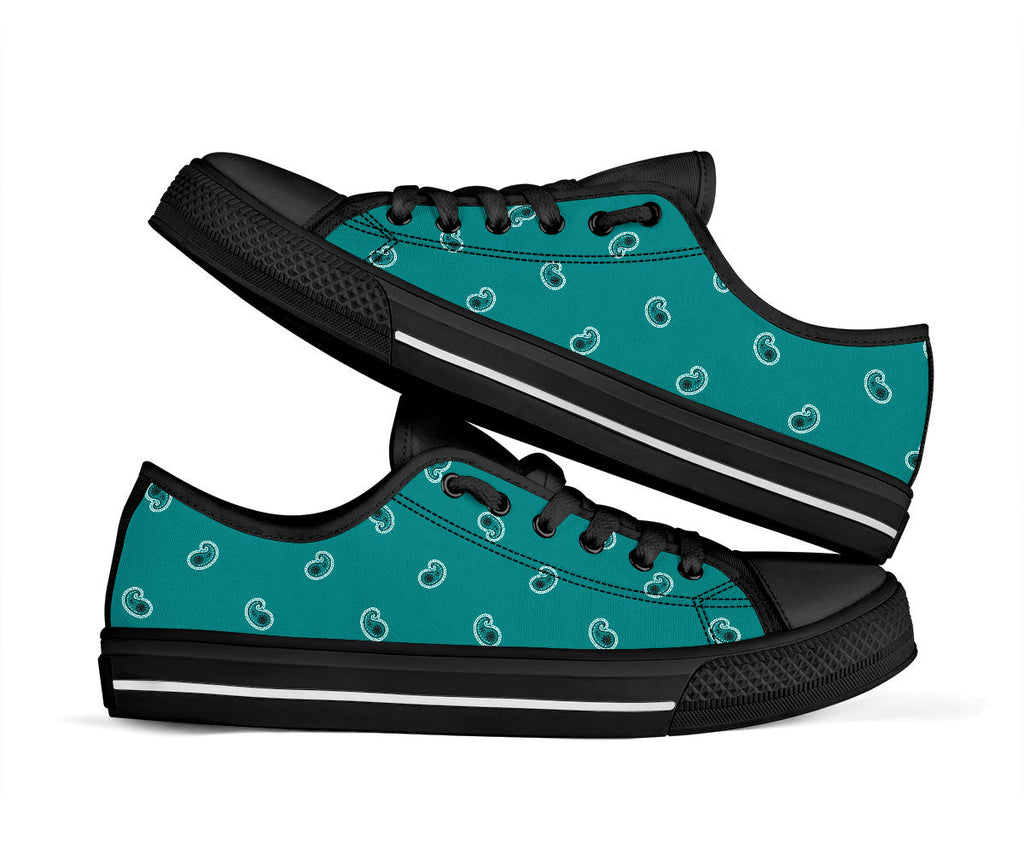 teal paisley sneakers