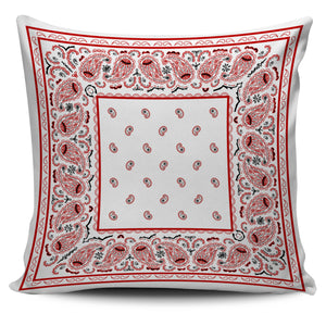 white and red bandana throw pillows