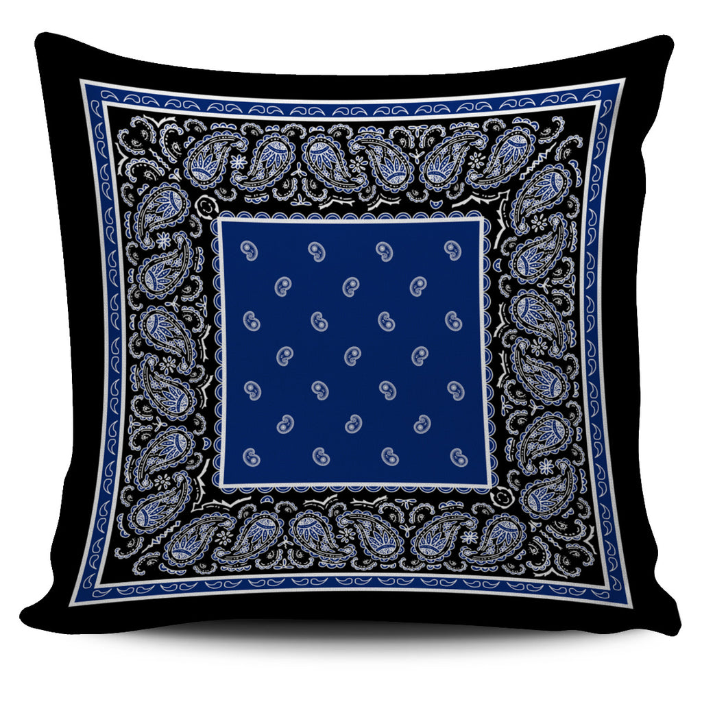 Blue and Black Bandana Throw Pillow Covers