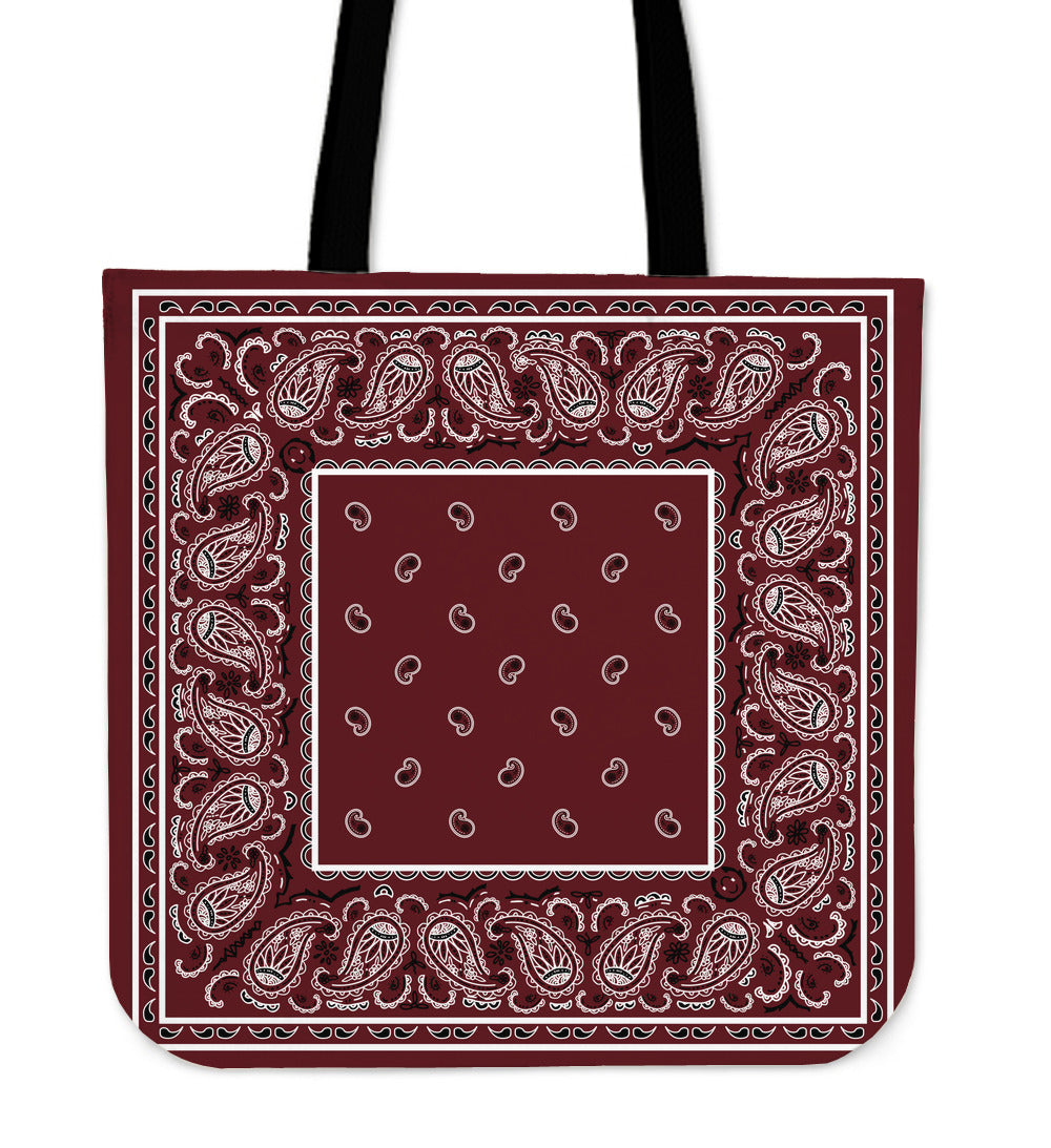 burgundy red tote bag with bandana print