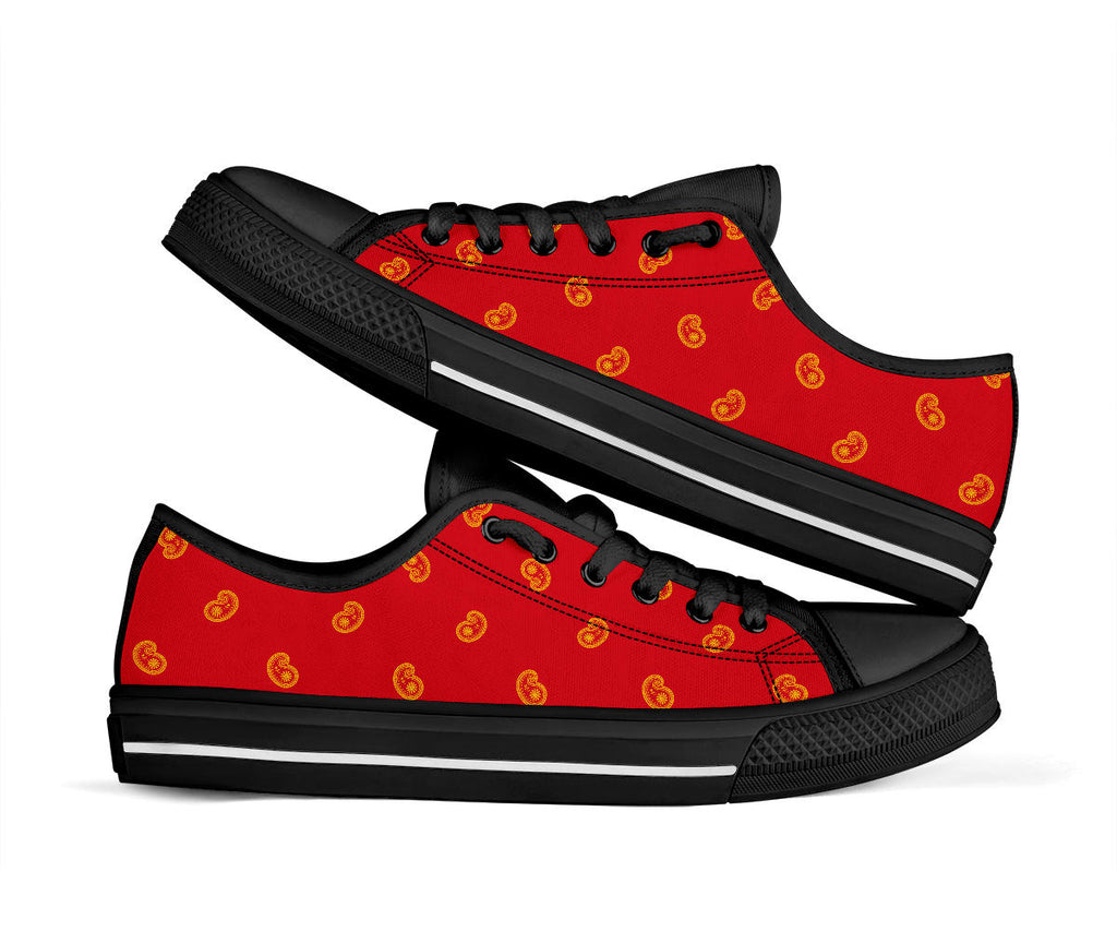 red and gold paisley sneakers