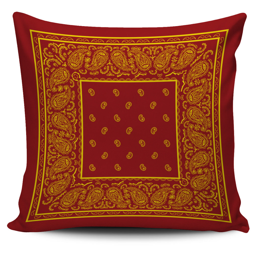 Red and Gold Bandana Throw Pillow Covers