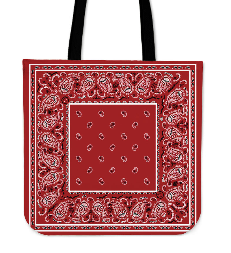 red bandana tote bag