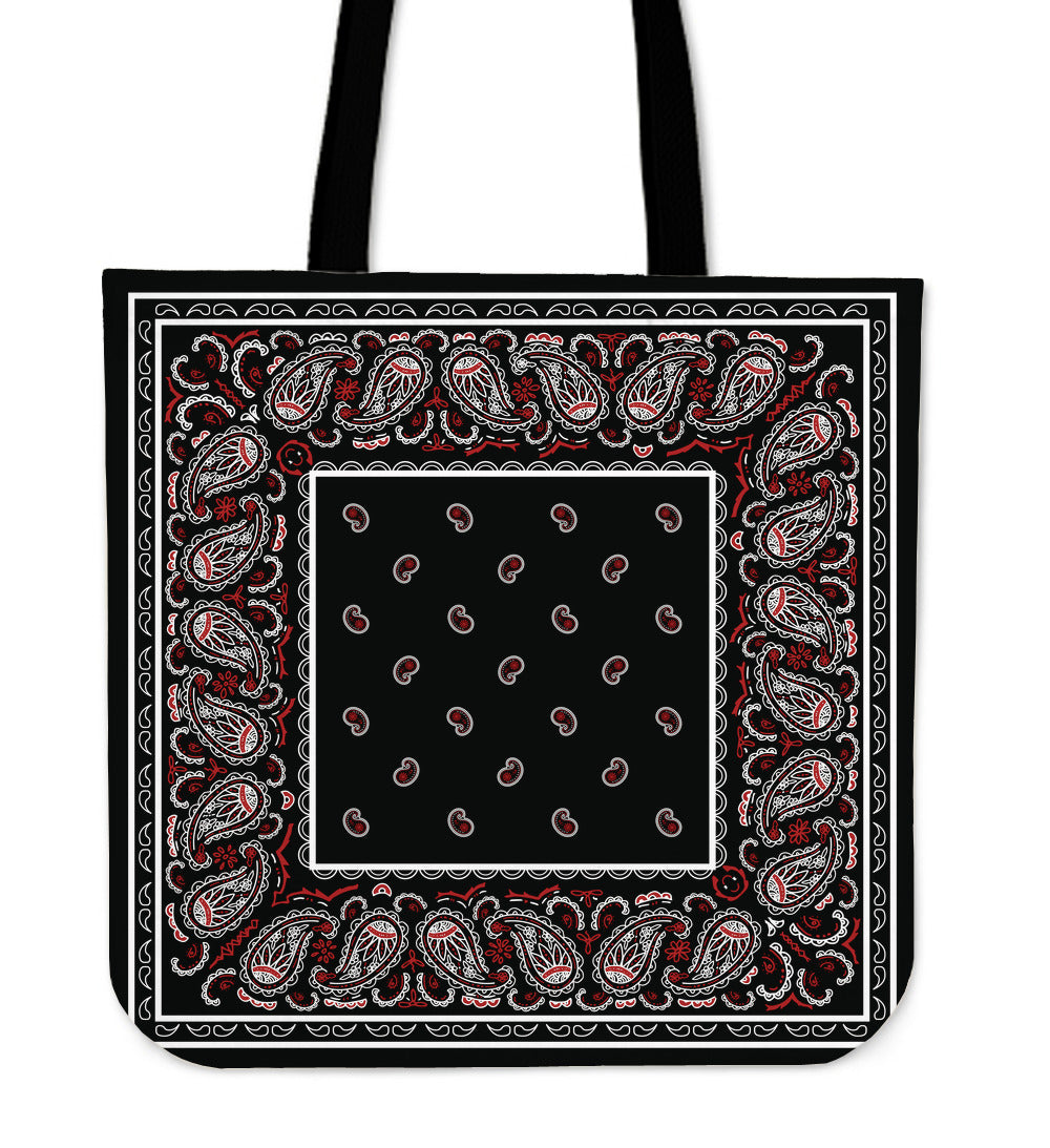 black and red bandana tote