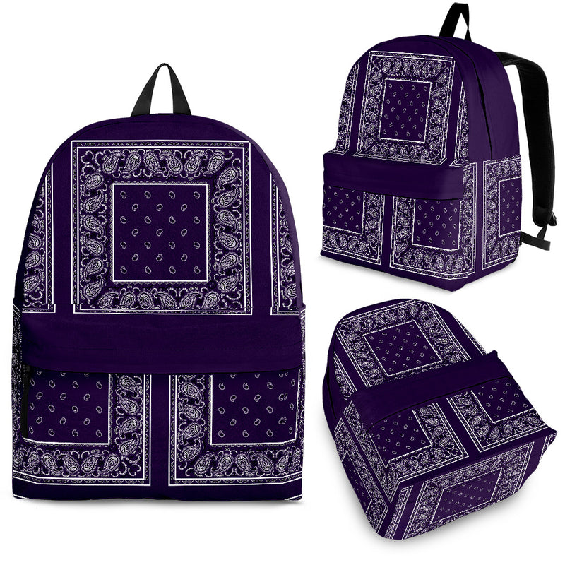 purple bandana backpacks in 3 sizes