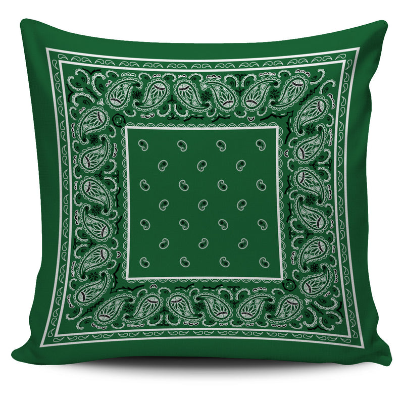 Classic Green Bandana Throw Pillow Covers